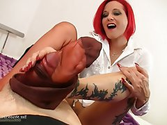 Cumshot, Foot Fetish, Pantyhose, Redhead