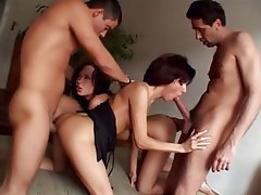 Anal, Brunette, Double Penetration, Group Sex
