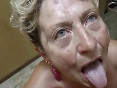 Blowjob, Angespritzt, Deutsch, Oma