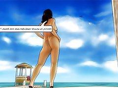 Beach, Big Boobs, Blowjob, Brunette