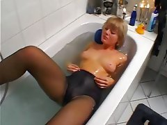 Amateur, Blonde, Masturbation, Stockings