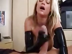 Blonde, Cumshot, Handjob, Latex